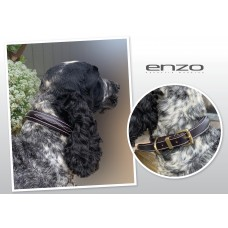 Enzo Leather Stitched Dog Collar